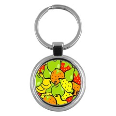Digitally Created Funky Fruit Wallpaper Key Chains (round)