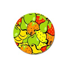 Digitally Created Funky Fruit Wallpaper Magnet 3  (Round)