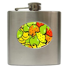 Digitally Created Funky Fruit Wallpaper Hip Flask (6 Oz)