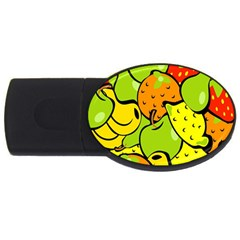 Digitally Created Funky Fruit Wallpaper USB Flash Drive Oval (2 GB)