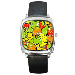 Digitally Created Funky Fruit Wallpaper Square Metal Watch