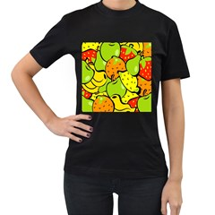 Digitally Created Funky Fruit Wallpaper Women s T-Shirt (Black) (Two Sided)