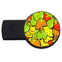 Digitally Created Funky Fruit Wallpaper Usb Flash Drive Round (4 Gb)