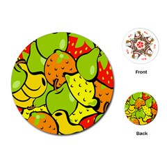 Digitally Created Funky Fruit Wallpaper Playing Cards (Round)