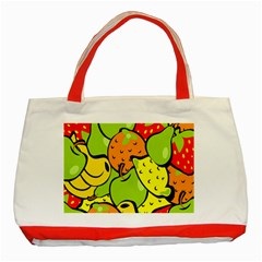Digitally Created Funky Fruit Wallpaper Classic Tote Bag (Red)