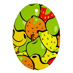 Digitally Created Funky Fruit Wallpaper Oval Ornament (Two Sides)