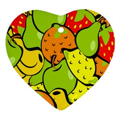 Digitally Created Funky Fruit Wallpaper Heart Ornament (two Sides)