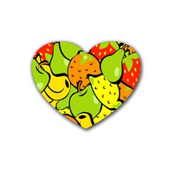 Digitally Created Funky Fruit Wallpaper Rubber Coaster (Heart)