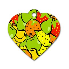 Digitally Created Funky Fruit Wallpaper Dog Tag Heart (two Sides)