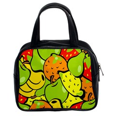 Digitally Created Funky Fruit Wallpaper Classic Handbags (2 Sides)