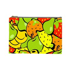 Digitally Created Funky Fruit Wallpaper Cosmetic Bag (Large)