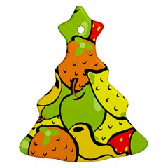 Digitally Created Funky Fruit Wallpaper Christmas Tree Ornament (Two Sides)