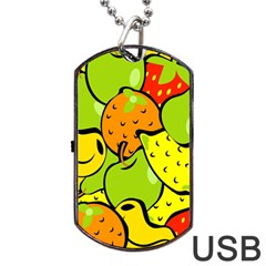Digitally Created Funky Fruit Wallpaper Dog Tag USB Flash (Two Sides)