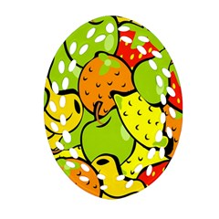 Digitally Created Funky Fruit Wallpaper Oval Filigree Ornament (two Sides)