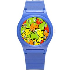 Digitally Created Funky Fruit Wallpaper Round Plastic Sport Watch (S)