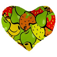 Digitally Created Funky Fruit Wallpaper Large 19  Premium Heart Shape Cushions