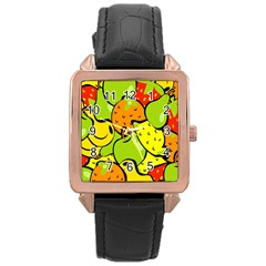 Digitally Created Funky Fruit Wallpaper Rose Gold Leather Watch