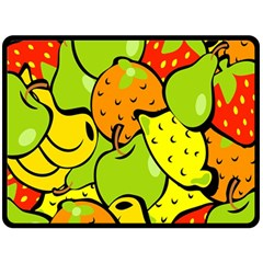 Digitally Created Funky Fruit Wallpaper Double Sided Fleece Blanket (large)