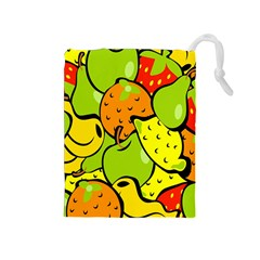 Digitally Created Funky Fruit Wallpaper Drawstring Pouches (Medium)