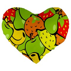 Digitally Created Funky Fruit Wallpaper Large 19  Premium Flano Heart Shape Cushions