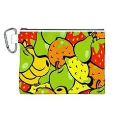 Digitally Created Funky Fruit Wallpaper Canvas Cosmetic Bag (L)