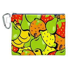 Digitally Created Funky Fruit Wallpaper Canvas Cosmetic Bag (XXL)