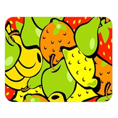 Digitally Created Funky Fruit Wallpaper Double Sided Flano Blanket (large)
