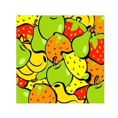 Digitally Created Funky Fruit Wallpaper Small Satin Scarf (square)