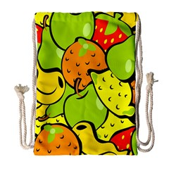 Digitally Created Funky Fruit Wallpaper Drawstring Bag (Large)