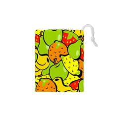 Digitally Created Funky Fruit Wallpaper Drawstring Pouches (XS)