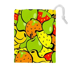 Digitally Created Funky Fruit Wallpaper Drawstring Pouches (Extra Large)