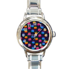 A Tilable Birthday Cake Party Background Round Italian Charm Watch