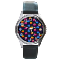 A Tilable Birthday Cake Party Background Round Metal Watch