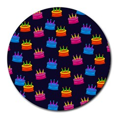 A Tilable Birthday Cake Party Background Round Mousepads