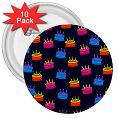 A Tilable Birthday Cake Party Background 3  Buttons (10 Pack)