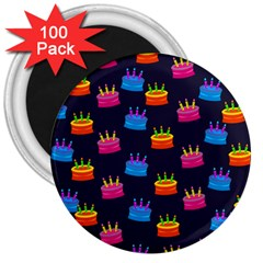 A Tilable Birthday Cake Party Background 3  Magnets (100 Pack)