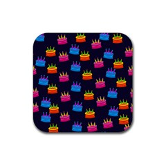 A Tilable Birthday Cake Party Background Rubber Square Coaster (4 pack)