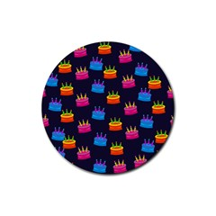 A Tilable Birthday Cake Party Background Rubber Coaster (Round)