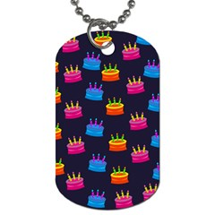 A Tilable Birthday Cake Party Background Dog Tag (one Side)