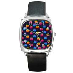 A Tilable Birthday Cake Party Background Square Metal Watch