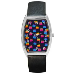 A Tilable Birthday Cake Party Background Barrel Style Metal Watch