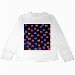 A Tilable Birthday Cake Party Background Kids Long Sleeve T-Shirts