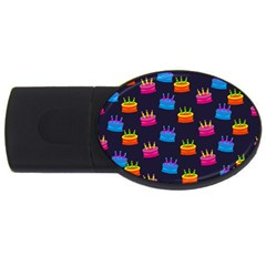 A Tilable Birthday Cake Party Background Usb Flash Drive Oval (4 Gb)