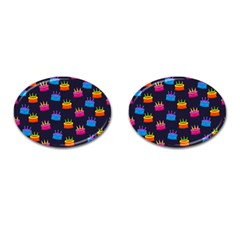 A Tilable Birthday Cake Party Background Cufflinks (Oval)