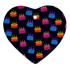 A Tilable Birthday Cake Party Background Heart Ornament (two Sides)