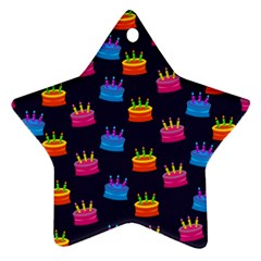 A Tilable Birthday Cake Party Background Star Ornament (Two Sides)