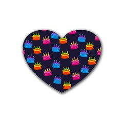 A Tilable Birthday Cake Party Background Rubber Coaster (Heart)