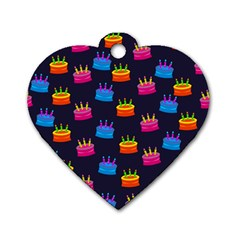A Tilable Birthday Cake Party Background Dog Tag Heart (Two Sides)