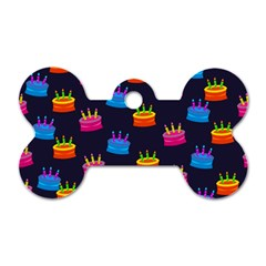A Tilable Birthday Cake Party Background Dog Tag Bone (One Side)