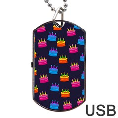 A Tilable Birthday Cake Party Background Dog Tag Usb Flash (two Sides)